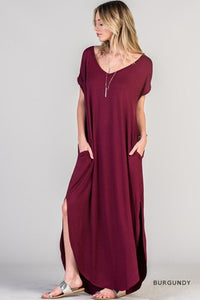 Short sleeve jersey maxi dress with pockets