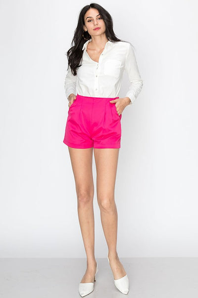 Shorts with pleating detail