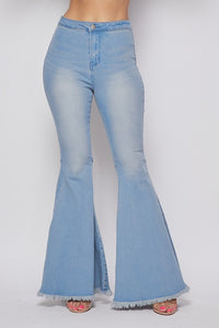 BCCP40041-LD-S-Banjul-Super Bell Bottom High Waist Jeans-RK Collections Boutique