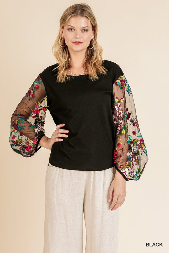 A4037-B-S-Umgee-Floral Embroidered Sheer Puff Sleeve Top-RK Collections Boutique