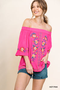 A4874-HP-S-Umgee-Off Shoulder Floral Embroidered Top-RK Collections Boutique