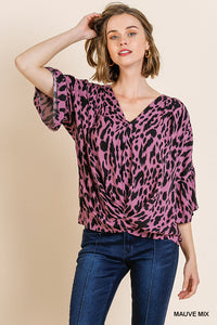 A5387-M-S-Umgee-Animal Print Bell Sleeve V-Neck Top-RK Collections Boutique