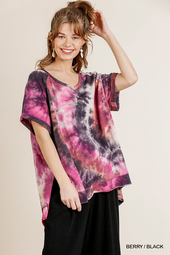 Tye Dye Short Folded Sleeve V-Neck Top