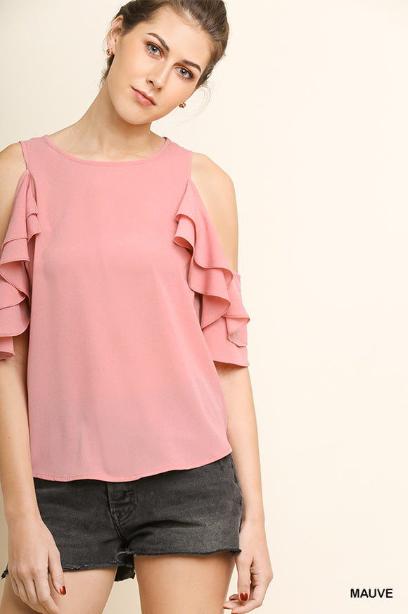 Layered Ruffle Open Shoulder Top with Scoop Hem