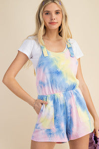 Tie Dye french terry shorts overalls