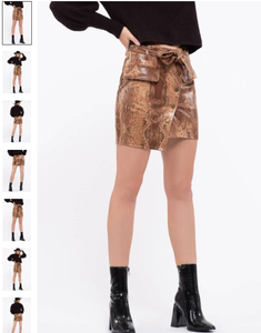 Glossy faux leather snakeskin mini skirt