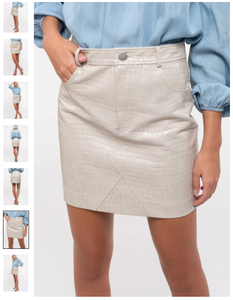 Faux leather embossed crocodile mini skirt
