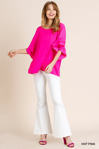 -Umgee-Layered Ruffle Sleeve Top-RK Collections Boutique