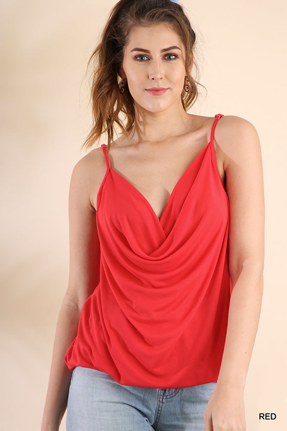 C1074-R-S-Umgee-drape neck spaghetti strap tank-RK Collections Boutique