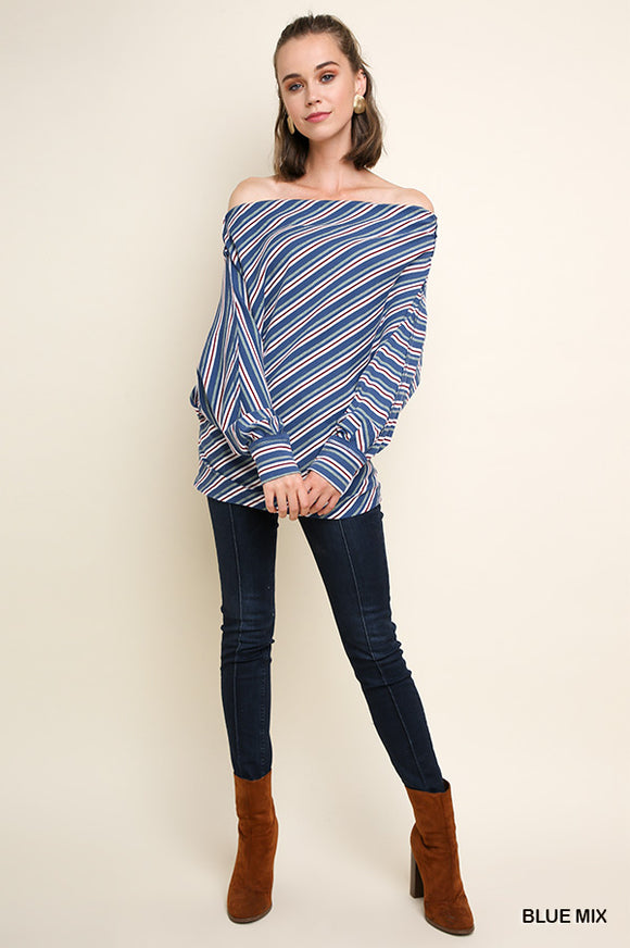 -Umgee-Striped Off Shoulder Long Dolman Sleeve Top-RK Collections Boutique