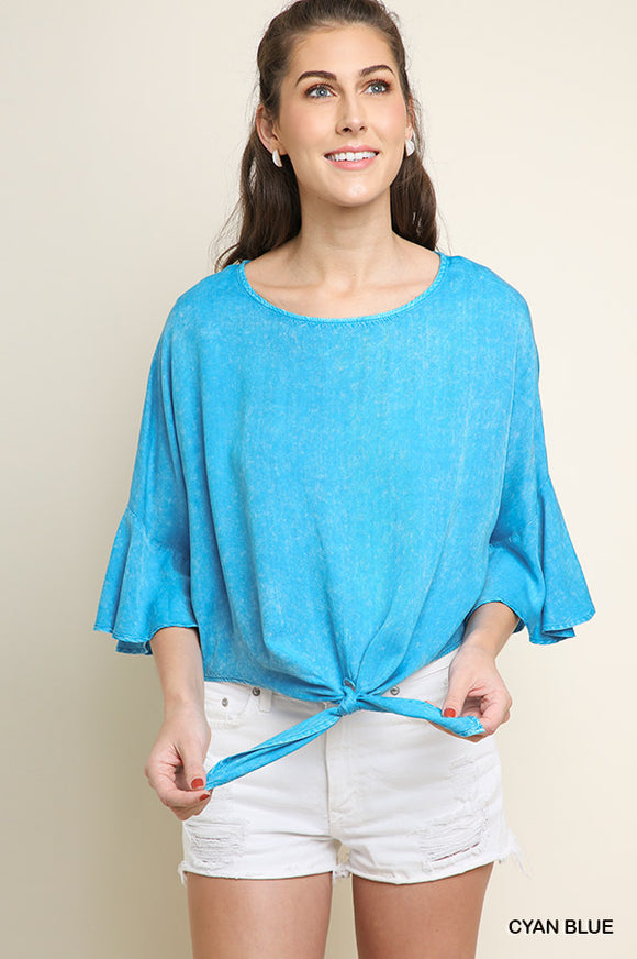 Mineral Washed 3/4 Ruffled Bell Sleeve Top