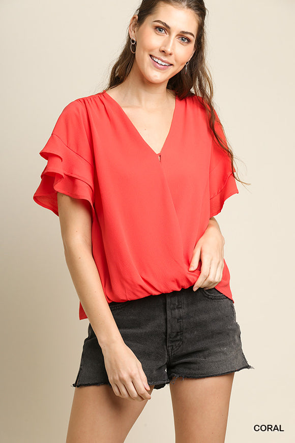 Layered Ruffle Sleeve Surplice Top