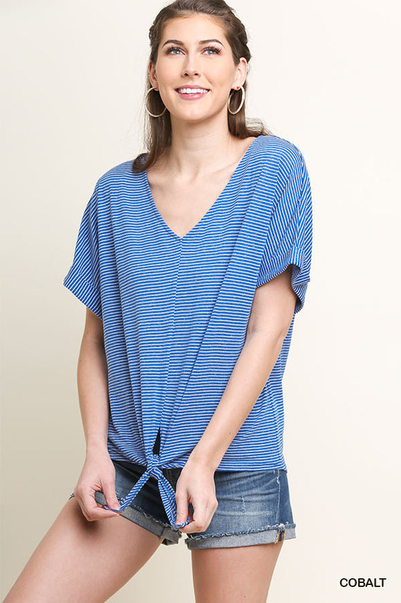 Striped Short Sleeve V-Neck Top with a Center Waist Tie