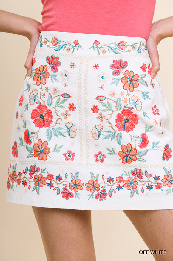 Floral Embroidered High Waist A-Line Skirt