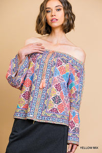 C1985-Y-S-Umgee-Scarf Print Long Bell Sleeve Off Shoulder Top-RK Collections Boutique
