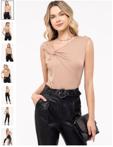 sleeveless asymmetrical neckline top