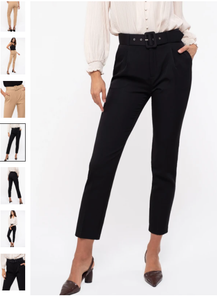 Belted skinny ankle pant