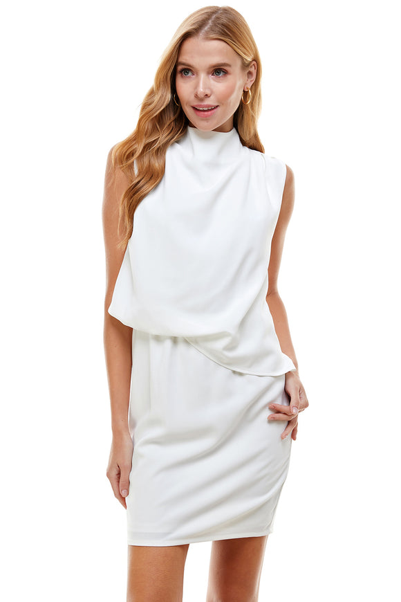 high neck draped layer sleeveless dress