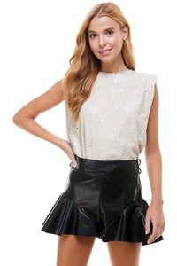 Shoulder pad Sequin sleeveless crop top