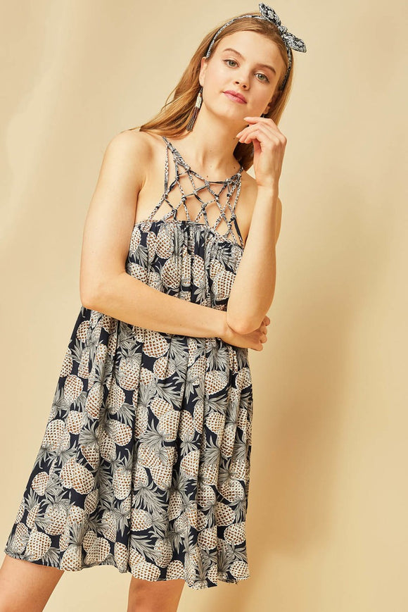 Pineapple print sun-dress