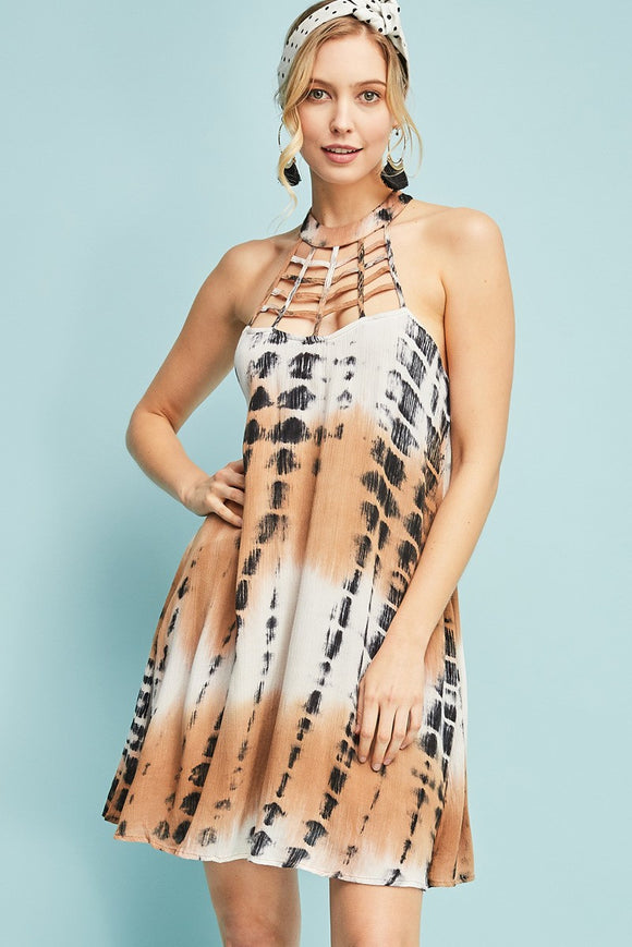 D7258-M-S-Entro-tie dye a line dress-RK Collections Boutique