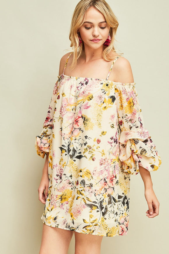 Floral print off-shoulder dress