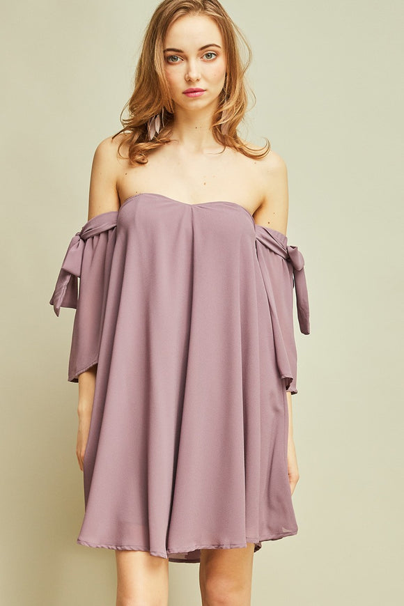 crepe off-shoulder shift dress
