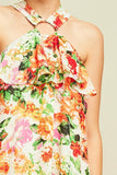 Floral print ruffled shift dress