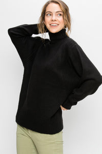 DZ19G618-B-S-Double Zero-mockneck dolman sweater-RK Collections Boutique