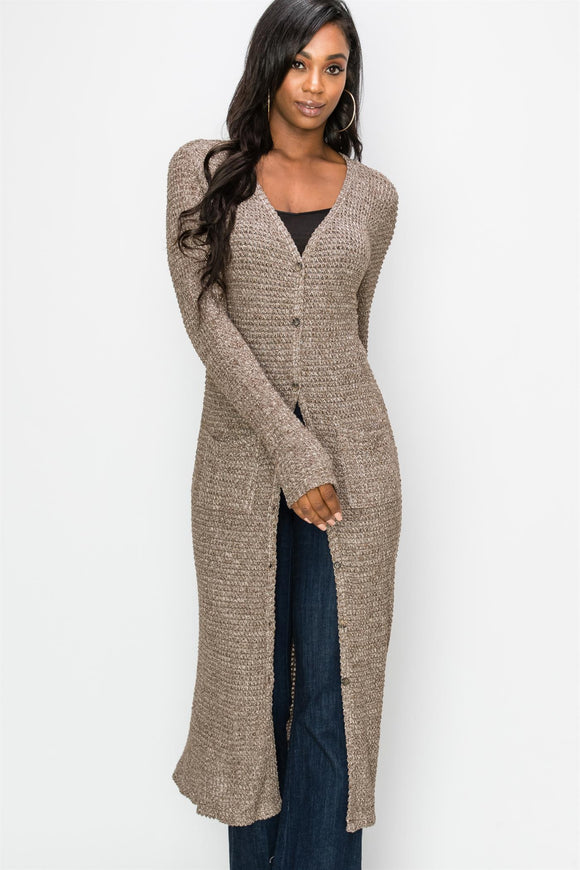 DZ19G792-DB-S-Double Zero-waffle knit button down duster cardigan-RK Collections Boutique