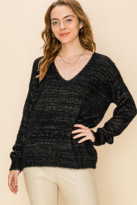 DZ20G986-7-Double Zero-v neck lurex fuzzy sweater-RK Collections Boutique