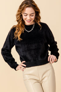 DZ21A059-1-Double Zero-Faux fur fuzzy sweater-RK Collections Boutique
