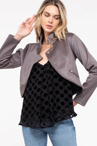 Python embossed faux leather short moto jacket