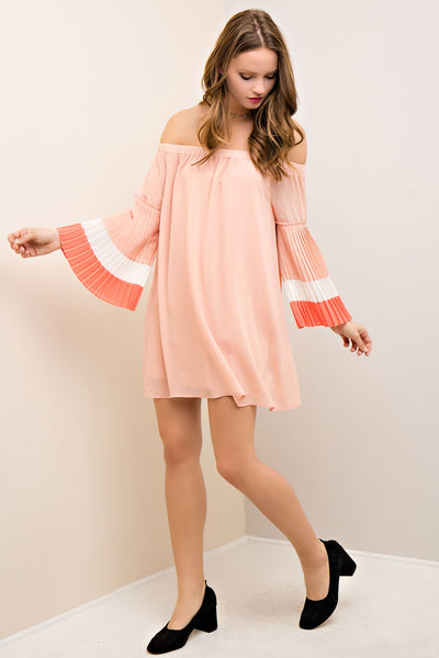 off the shoulder dress with pleated color block bell sleeves