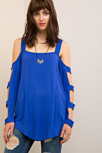2911-1-Entro-Ladder sleeve jersey top-RK Collections Boutique