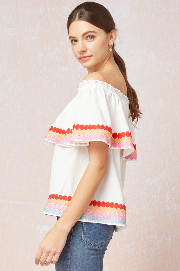 Off the shoulder layered multi color embroidery top