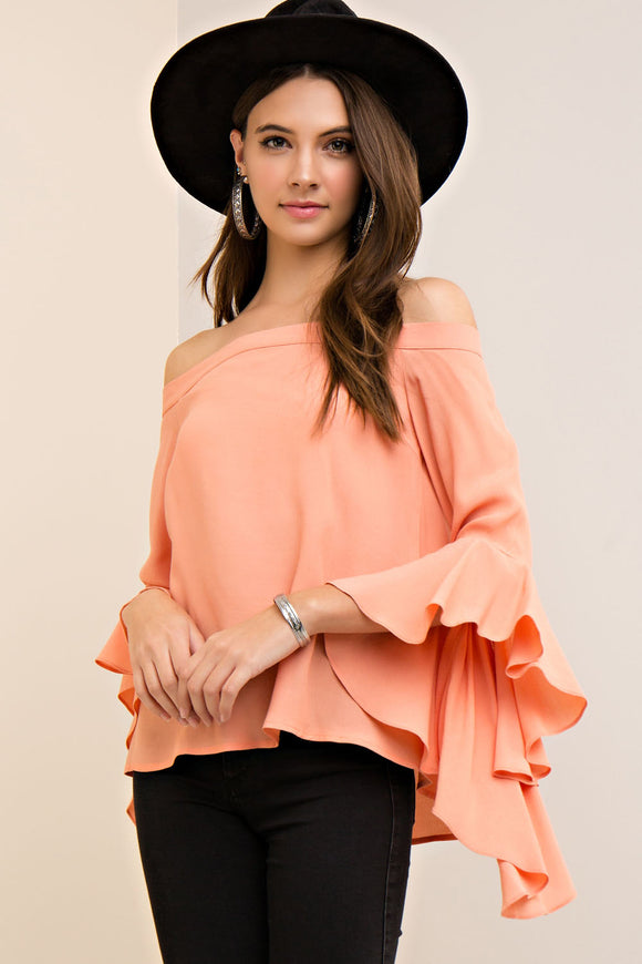 Solid crinkled off the shoulder top with waterfall sleeves