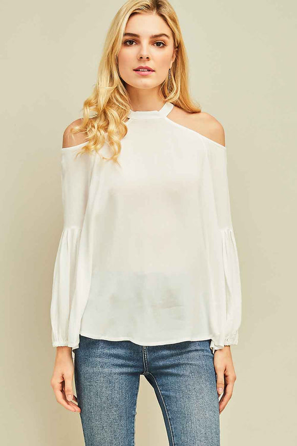Cold shoulder woven top with sleeve detail