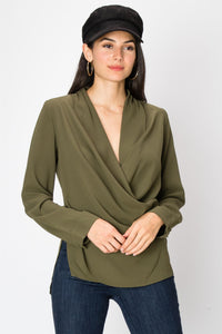 FL19C174-O-S-Favlux-Wrap woven blouse-RK Collections Boutique