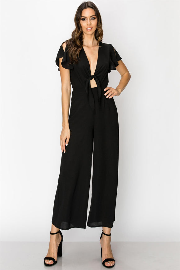 short sleeve jumpsuit with tie front