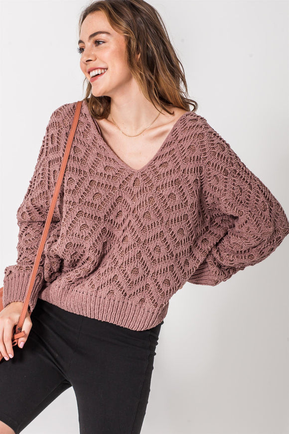 crochet chenille v-neck sweater