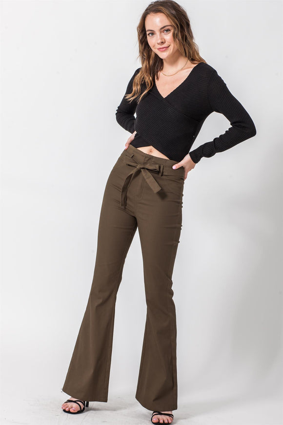 High waist flare twill pants