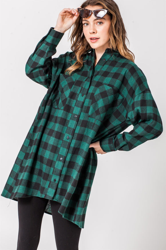 Oversized boyfriend plaid button down shirt