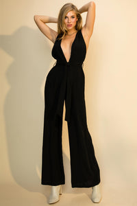 double v-neck wide leg jumpsuit