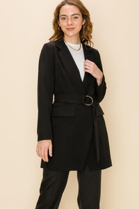Longline blazer with o-ring belt