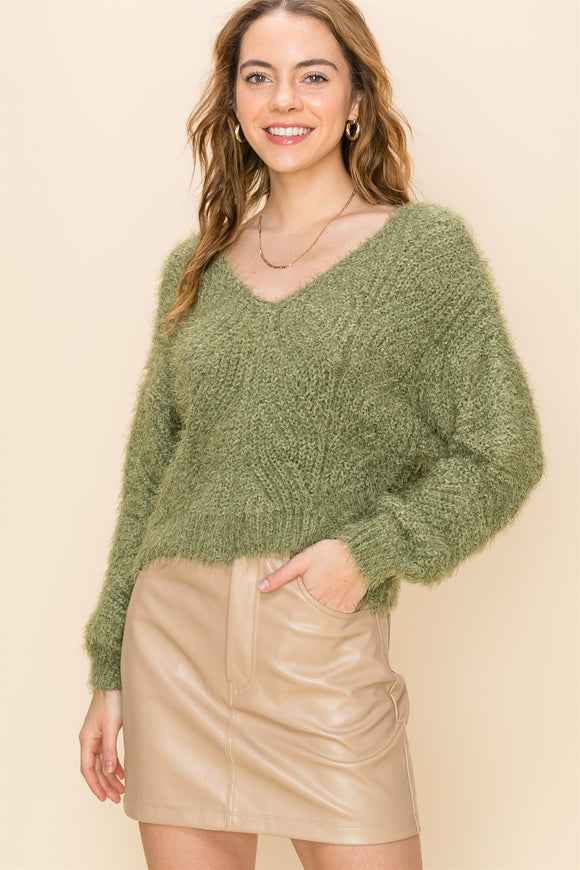 V-neck soft sweater