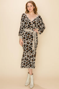 Leopard fuzzy surplice sweater midi dress