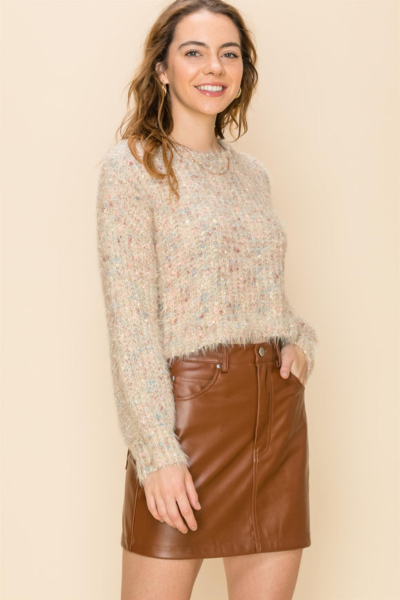 Multi color lurex boxy crop sweater