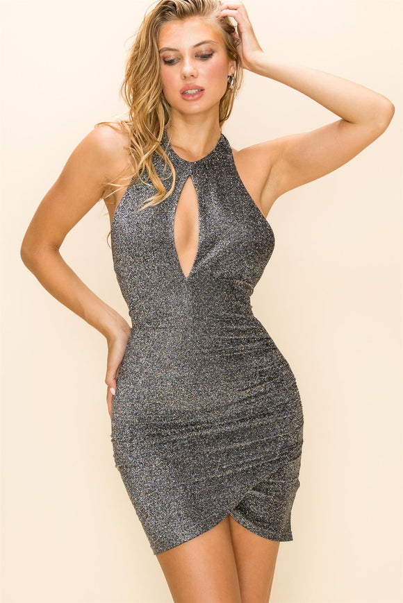 Halter neck lurex sparkle mini dress