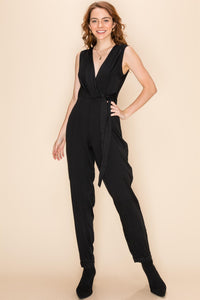 Lapel collar taper leg jumpsuit